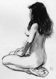 Femme agenouillée par René Follet Lavis, Gouache et encre de Chine sur papier (Années 90) Carthage, Gouache, Art Sketches, Art Drawings, Pin Up, Body Study, Beautiful Drawings, Learn To Paint, Portraits
