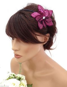 Dark pink Sequin Flower Headband Hair band Fascinator 20's Art Deco Design