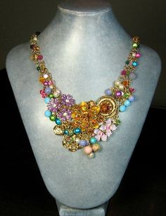 Flower Statement Necklace, Repurposed Jewelry. $112.00, via Etsy.