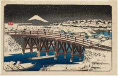 Nihonbashi Bridge in Snow (Nihonbashi setchû), from the series Famous Places in the Eastern Capital (Tôto meisho) Date:1840-42