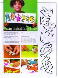 """Keith Haring inspired lesson ... love the """"paper doll"""" pieces to work with!  Might have kids make their own so everyone's is unique."""