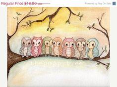 Owl Print Bird Tree Colorful Children Wall Art---Owls