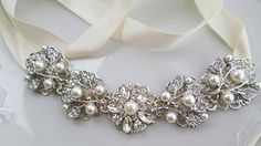 Ivory Ribbon Pearl Headband, Bridal Hair Accessories,Silver and Crystal Flower, Bridal Hair Vine, Vintage Style, Wedding Accessory on Etsy, $45.00