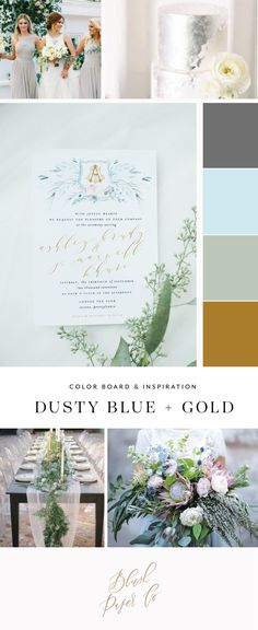 dusty blue and gold wedding color inspiration by blush paper co Blush Wedding Invitations, Wedding Stationery, Gold Wedding Colors, Wedding Flowers, Wedding Etiquette, Dusty Blue Weddings, Wedding Inspiration, Color Inspiration, Post Wedding