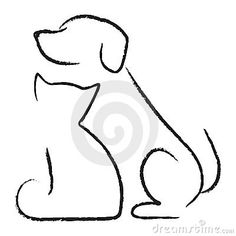 Illustration of Dog cat icon vector art, clipart and stock vectors. Cat And Dog Drawing, Cat And Dog Tattoo, Dog Tattoos, Tattoo Cat, Silhouette Chat, Silhouette Tattoos, Cat Outline Tattoo, Wallpaper Gatos, Animal Line Drawings