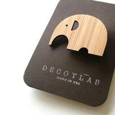 Elephant Bamboo Brooch by decoylab on Etsy, $12.00