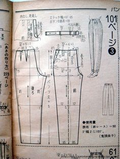 Japanese book and handicrafts - so-en Sewing Clothes Women, Sewing Pants, Diy Clothes, Japanese Sewing Patterns, Easy Sewing Patterns, Clothing Patterns, Suit Pattern, Pants Pattern, Free Crochet Doily Patterns