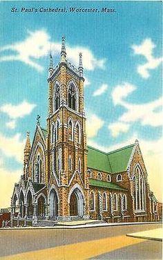 Worcester Massachusetts 1940s St Paul's Cathedral Antique Vintage Linen Postcard