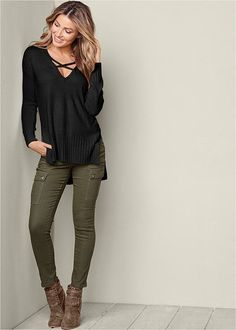 Venus Women's V-Neck Side Slit Sweater Sweaters - Black, Size L https://tmblr.co/ZmD_Wd2QMvZhb