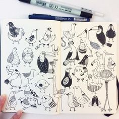 """Day 9. Bird. I have phobia of birds. They are scary, especially pigeons!! #CBDrawADay #creativebug #doodle #moleskineart #sketchbook"""
