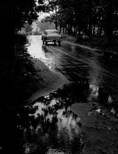 Retro car - black-and-white photograph