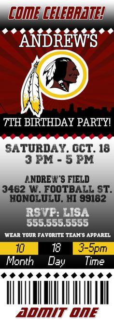 NFL Washington Redskins Ticket Birthday Invitation