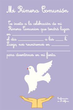Invitación comunión para descargar First Communion, Cardmaking, Baby Shower, Education, Scrapbooking, Love, Card Templates Printable, First Holy Communion, Making Cards