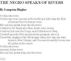 an analysis of the poem the negro speaks of rivers Langston hughes - poet - a poet,  simple speaks his mind,  he edited the anthologies the poetry of the negro and.