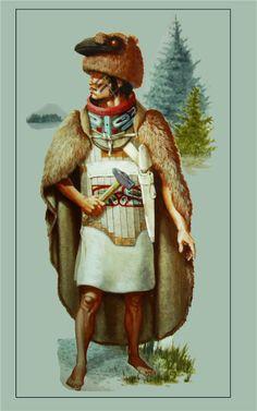Tlingit warrior wearing bone and wood armour