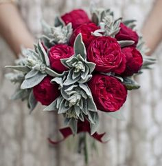 Not my wedding colors, but this bouquet is gorgeous for winter. *English rose, lamb's ear