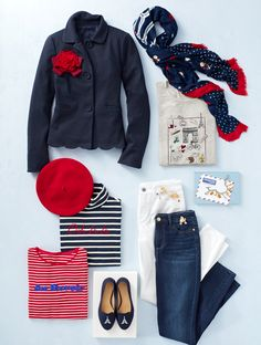 """Fashionable French influence gives our favorite Fall pieces a certain je ne sais quoi. From berets to stripes and parisian details... our collection will have you saying """"ooh la la""""   Talbots"""