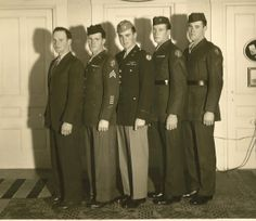 The O'Brien brothers in 1942. Four joined the military during World War II, while one received a deferment to help his father run their Vermont farm. From left are George; Jack, who served in the infantry in Europe; Bill, who flew bombing raids over Germany as a B-19 navigator in the Army Air Corps; and Bob and Jim, who both went to the Pacific with the Marines. Bob and Jim O'Brien were not in the same unit — but they met up by coincidence when both were sent to Okinawa.