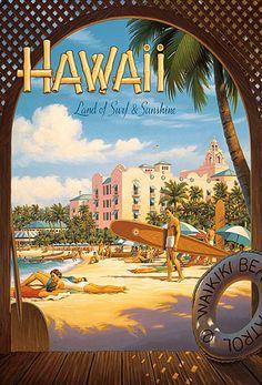 Canvas Hawaii, Land of Surf & Sunshine Travel Poster; enjoy art