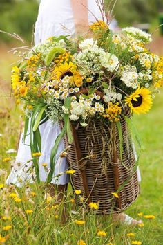 Basket of Late Summer Flowers - perfect for a porch!