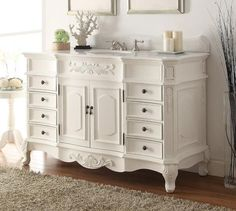 "56"" Antique white Morton Bathroom Sink Vanity - HF-2815W-AW-56 - Chans Furniture - 1"