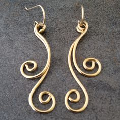 14K Gold Filled Earrings with Swirls and Waves