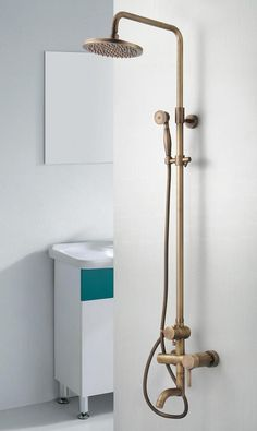 Antique Brass Single Handle Wall Mount Rainfall + Handheld Shower Tap TP06001 - UK Taps Online Shop