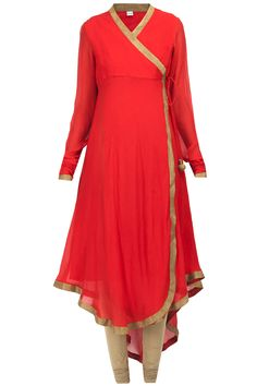 Red asymmetrical angrakha style kurta set available only at Pernia's Pop-Up Shop