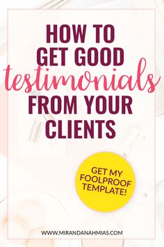 How to Get Good Testimonials From Your Clients. A step-by-step tutorial, plus an email and survey template from yours truly! // Miranda Nahmias Co. Digital Marketing Agency and Virtual Assistance Team Business Entrepreneur, Business Marketing, Email Marketing, Marketing Ideas, Marketing Strategies, Content Marketing, Internet Marketing, Inbound Marketing, Affiliate Marketing
