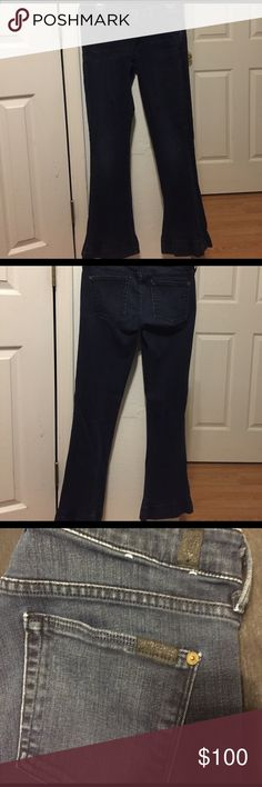 7 For All Mankind Dark Wash Flare Jeans These jeans are in excellent gently worn condition with no holes or stains. They are very dark wash blue jeans. Come from a pet free, smoke free home. Originally paid over $190+tax for these so no low balling please. Please comment any questions or make an offer! Inseam: 75cm. 7 For All Mankind Jeans Flare & Wide Leg