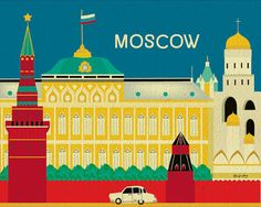 Moscow, Russia Poster - Wall Art Travel Themed Print for Home, Office, and Nursery - E8-O-MOS