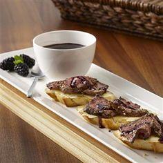 Peppercorn Steak Crostini with Blackberry Sauce