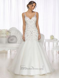 Mermaid Beaded Straps & Bodice V-neck Wedding Dresses with High Illusion Back
