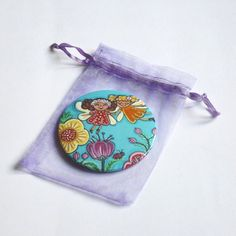 Flower fairy pocket mirror Fairy tale art Hand mirror Compact mirror Little girl purse mirror favors Little girl birthday gift Round mirror