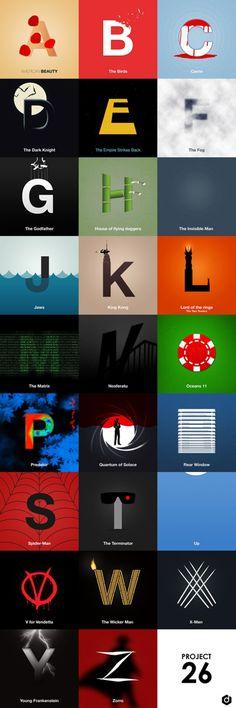 Movie Alphabet  Découverte du concept « Project 26″, le nom choisi pour cette création d'un alphabet typographique en l'espace de 12 heures par Doaly, proposant d'associer à chaque lettre un film et une idée. Une idée simple mais réussie à découvrir en détails et images dans la suite de l'article.