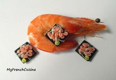Square plate of prawns Handmade miniature food by MyFrenchCuisine