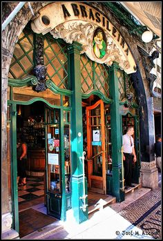 "Portugal - Lisboa - O icónico café ""A Brasileira"", na Baixa lisboeta. / Iconic cafe ""A Brasileira"" in the downtown of Lisbon. Spain And Portugal, Portugal Travel, Portugal Trip, Places To Travel, Places To See, Saint Marin, Voyage Europe, Algarve, Budapest"