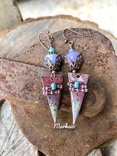 Rustic Copper enameled charms by markazo have been paired with Lavendar lampwork beads by another Etsy artist. Brass bead spacers and oxidized wire. Length from top of ear wire is 2 inches. Etsy Handmade, Handmade Crafts, Handmade Items, Artisan Jewelry, Handcrafted Jewelry, Easter Candy, Creative Gifts, Creative Ideas, Lampwork Beads