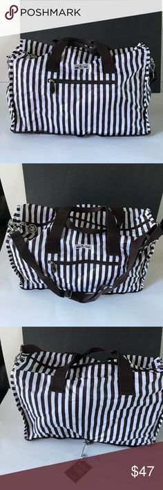 Henri Bendel Duffle Bag Travel made easy by Henri Bendel with this packable duffle Bag.  Approximately 18 inches long 8 inches wide 11 inches tall.  Side pockets front pocket and inside pocket holds everything imaginable.  Excellent condition.  NWT henri bendel Bags Travel Bags