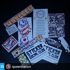 @queenbacon I just squealed like a piggy when hubby walked in with mail from our late xmas sticker exchange! We just got our pack from @misterguh #breaddog and @fling_1 #fling happy holidays i love it!  #graffitiporn #stickersocialclub #stickers #stickerporn #graff #graffiti #stickers #art #streetart #beautiful  #markers #madewithlove #iloveny #nyc #ny #brooklyn