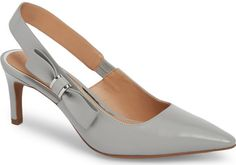Linea Paolo Cora Slingback Pump in Grey. A neat bow adorns the slingback strap of an otherwise minimalist pump styled with a perfectly pointed toe and slender setback heel. Diamond Shoes, Pretty Sandals, Kitten Heel Shoes, Minimalist Shoes, Flip Flop Shoes, Slingback Pump, Trendy Shoes, Beautiful Shoes, Your Shoes