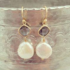 White Freshwater Pearl Earrings - Bezel Set Earrings - Gold earrings