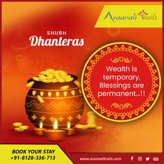 Clean your homes, decorate with candles, make Rangolis and light up diyas as Goddess Lakshmi is about to come. Araavali trails wishes you a Happy Dhanteras! Clean your homes, decorate with candles, make Rangolis and light up diyas Dhanteras Wishes Images, Happy Dhanteras Wishes, Navratri Wishes, Happy Navratri, Diwali Status, Happy Janmashtami, Diwali Celebration, Name Pictures