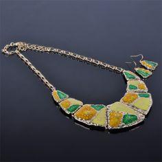 Enamel Spring Color Jewellery Set Cheap Jewelry