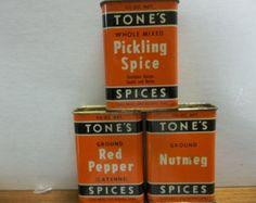 Vintage Tones spice tin, orange Tones spice tins, old spice tin, vintage spice tin