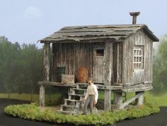 Shanty House used in Logging, Mining, and Railroad Camps ~ HO Scale