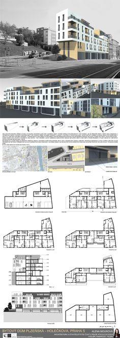 Studentský projekt. LS 2013/2014. FSv ČVUT v Praze. Townhouse, House Plans, Pin Up, Villa, Presentation, Floor Plans, Graphic Design, How To Plan, Architecture