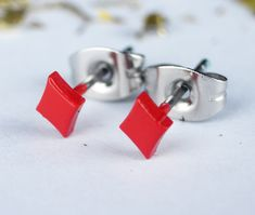 Small Earrings – Red Diamond Button Pair Stud Earrings Men Women – a unique product by mailtown on DaWanda