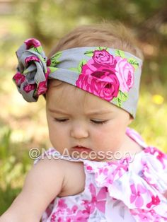 Floral Fabric Head Wrap Pink Head Wrap Baby Gift  by NeAccessory