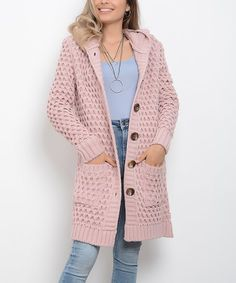 AVORWE Powder Loose-Knit Pocket Wool-Blend Hooded Button-Front Cardigan - Women | Best Price and Reviews | Zulily New Today, Cardigans For Women, Amazing Women, Wool Blend, Sweater Cardigan, Hoods, Autumn Fashion, That Look, Buttons